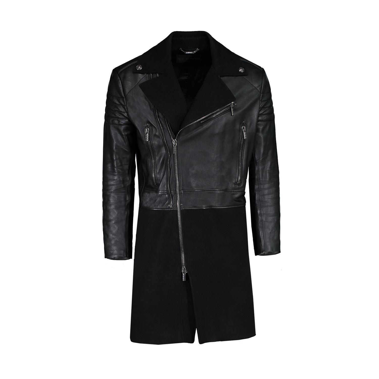 Versace NON DISPONIBLE - Versace long manteau noir en cuir et laine