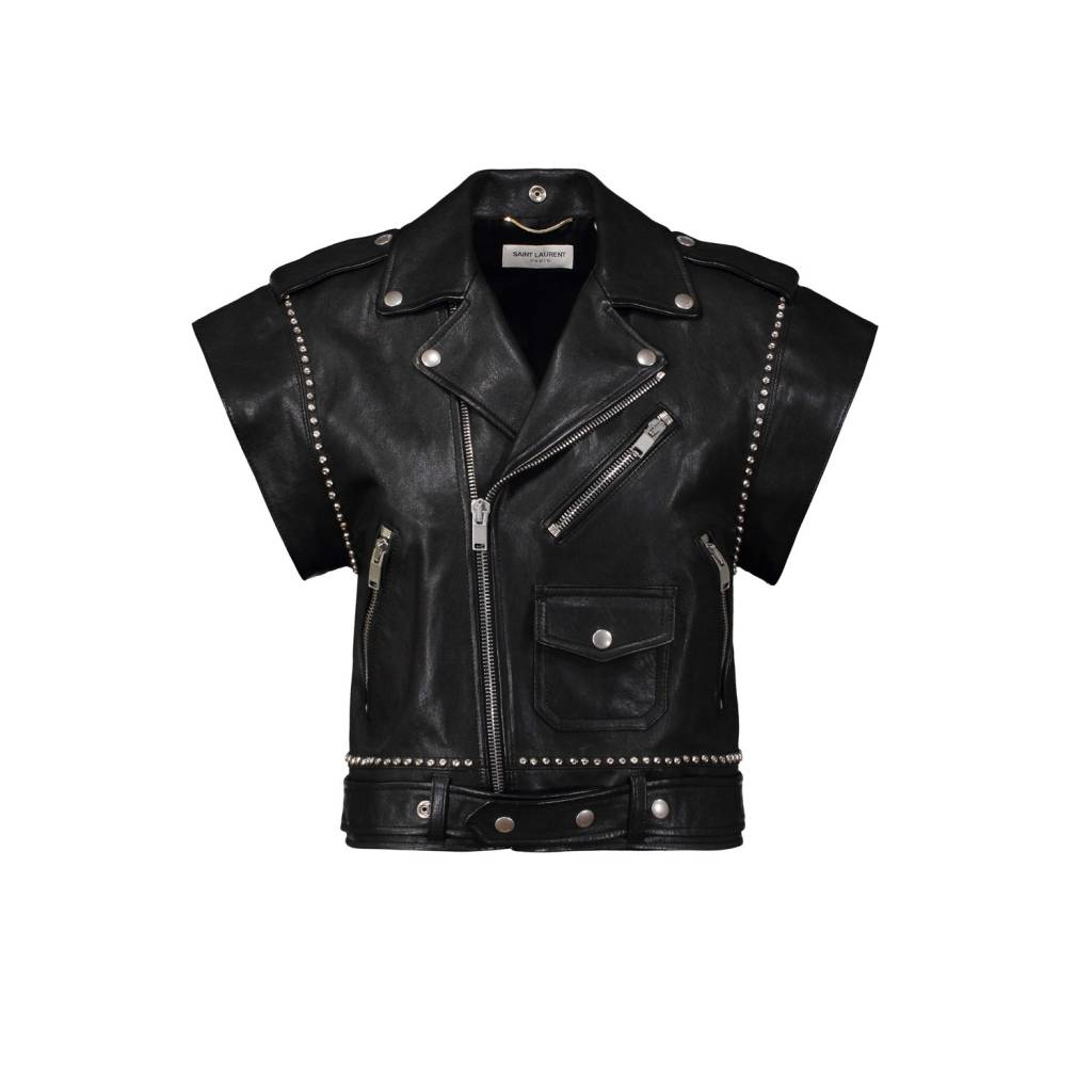 60ac15db35a Saint Laurent Paris Saint-Laurent Paris Leather Vest with Silver Hardware  ...