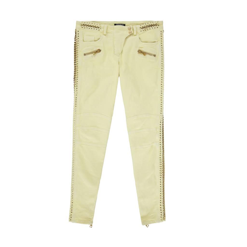 b9135344 Balmain Yellow Biker 7 Pockets Jeans with Gold Chain Trims ...