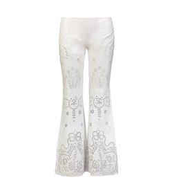 Ralph Lauren Ralph Lauren Purple Collection pantalon de cuir blanc avec détails de fleurs perforés