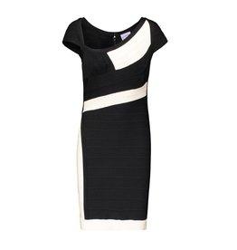 Hervé Léger N/A - Hervé Leger Ivory and Black Bandage Mini Dress