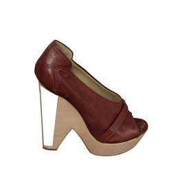 Chloé Chloé  Wedge Sandals with Wood and Plexi Heel
