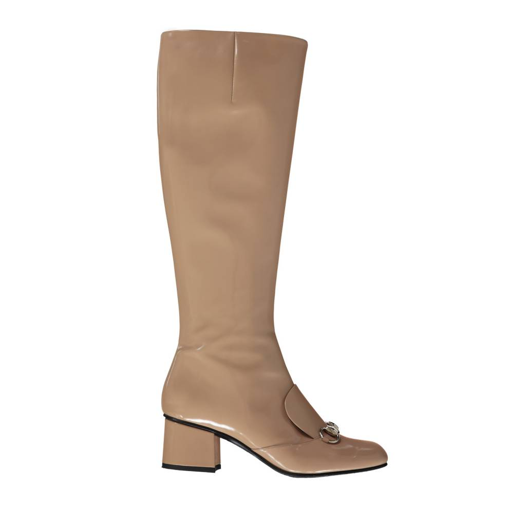 Gucci N/A - Gucci Beige Regent Patent Boots