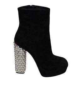 Miu Miu N/A - Miu Miu Crystal Heel Suede Boots