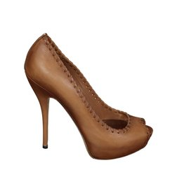 Gucci N/A - Gucci Beige Leather Peep Toe Pumps