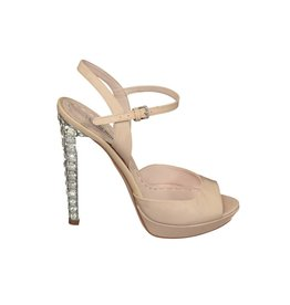 Miu Miu NON DISPONIBLE - Miu Miu sandales rose à talons ornés de cristaux