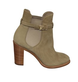 Louis Vuitton N/A - Louis Vuitton Beige Booties with Wooden Heels