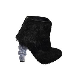 Chanel Chanel Fur Boots with Crystal Heels