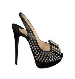 Christian Louboutin NON DISPONIBLE - Christian Louboutin sandale noire à clous et noeud
