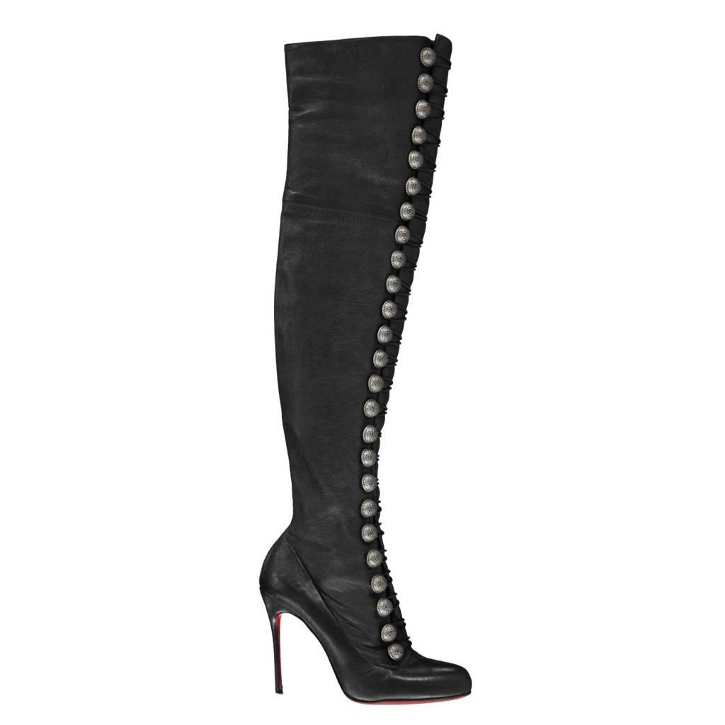 taille 40 2ebbd 8dfd1 Christian Louboutin bottes cuissardes noires avec boutons