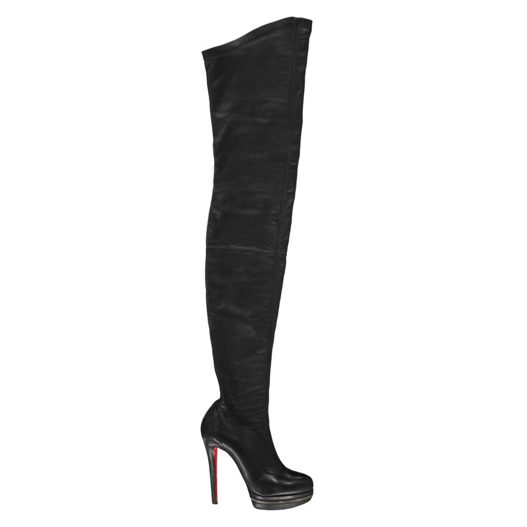newest 56710 75952 Christian Louboutin Black Over-The-Knee Boots with Tonal Stitching