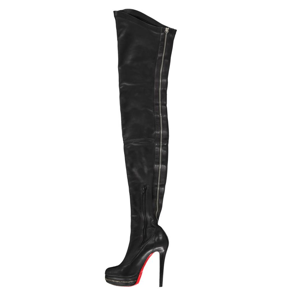 Christian Louboutin Christian Louboutin Black Over-The-Knee Boots with Tonal Stitching