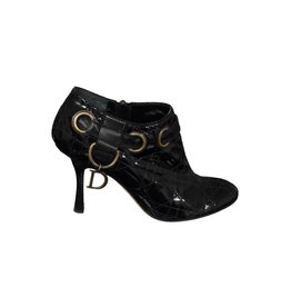 Christian Dior N/A - Christian Dior Stitched Black Patent Booties