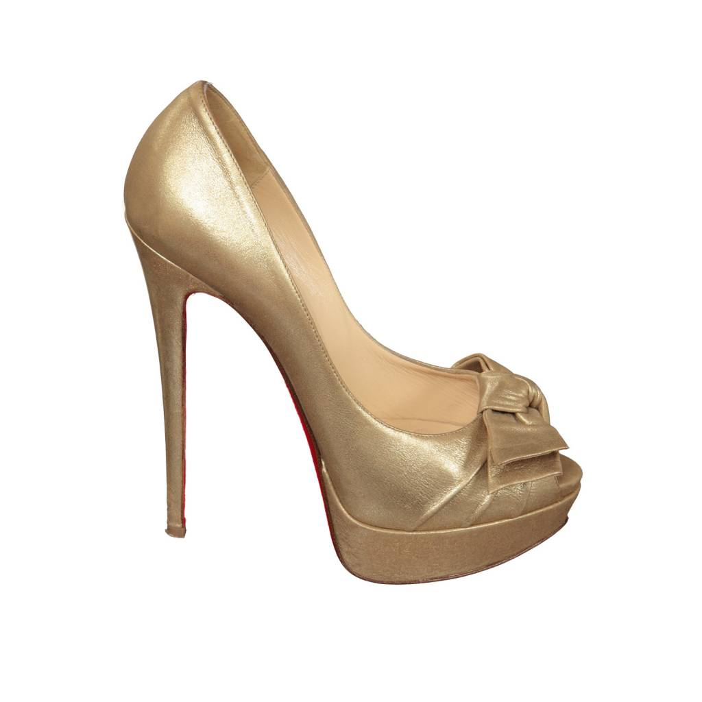 outlet store 7d728 16432 Christian Louboutin Gold Glitter Lady Peep Pumps