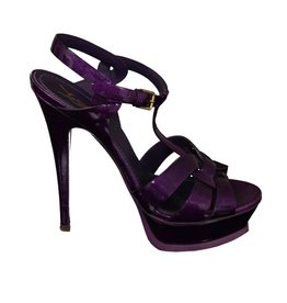 Yves Saint-Laurent Yves Saint-Laurent Purple Tribute Patent Sandals