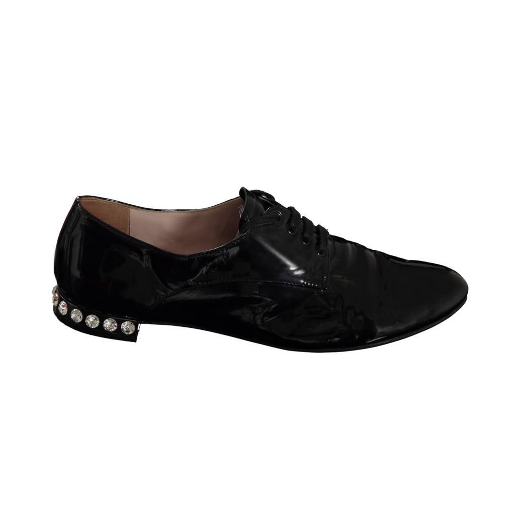 Miu Miu Miu Miu Black Patent Oxfords with Crytals Embellished Heel