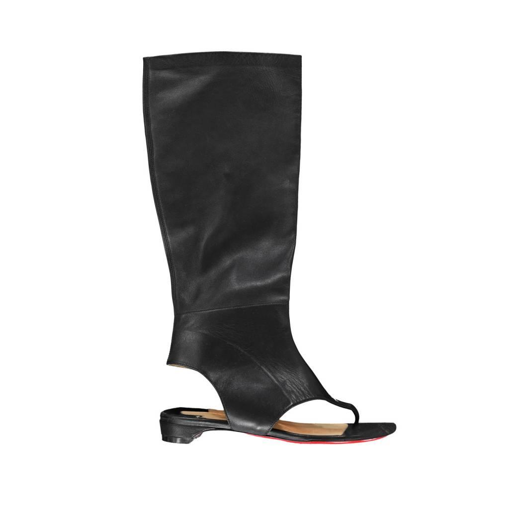 design intemporel 69801 54486 Christian Louboutin Louboutin sandales en cuir noires à bout et talon  ouverts