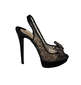 Christian Louboutin N/A - Christian Louboutin Black Crepe Lace Sandals with Bow