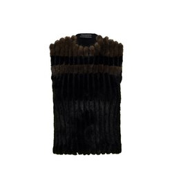 Prada Prada Black and Brown Mink and Wool Vest