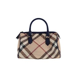 Burberry NON DISPONIBLE - Burberry sac à main Boston avec ganses en patent bleu
