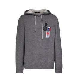 Louis Vuitton N/A - Louis Vuitton Grey Hoodie with Patches
