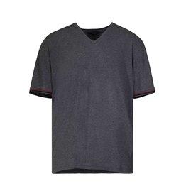 Gucci NON DISPONIBLE - Gucci t-shirt gris col en V gris avec bandes vertes et rouges aux manches