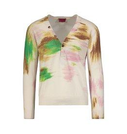 Missoni Missoni Beige Tie Dye Cashmere Button V-neck Sweater