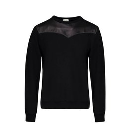 Saint Laurent Paris Saint Laurent Paris sweat-shirt avec appliqué de cuir