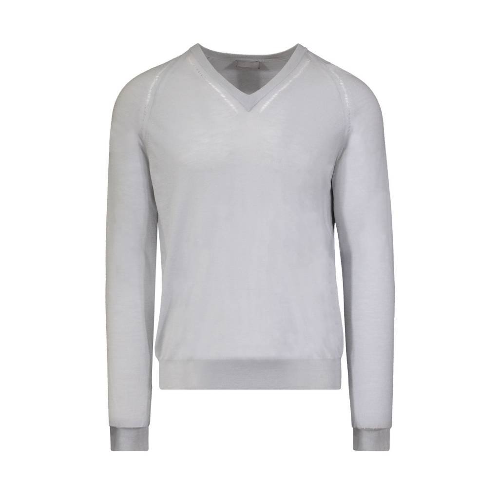 Dior Homme N/A - Dior Homme Baby Blue Frayed V-Neck Sweater
