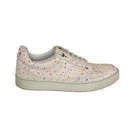 Lanvin Lanvin sneaker blanc avec effet gouttes de peinture