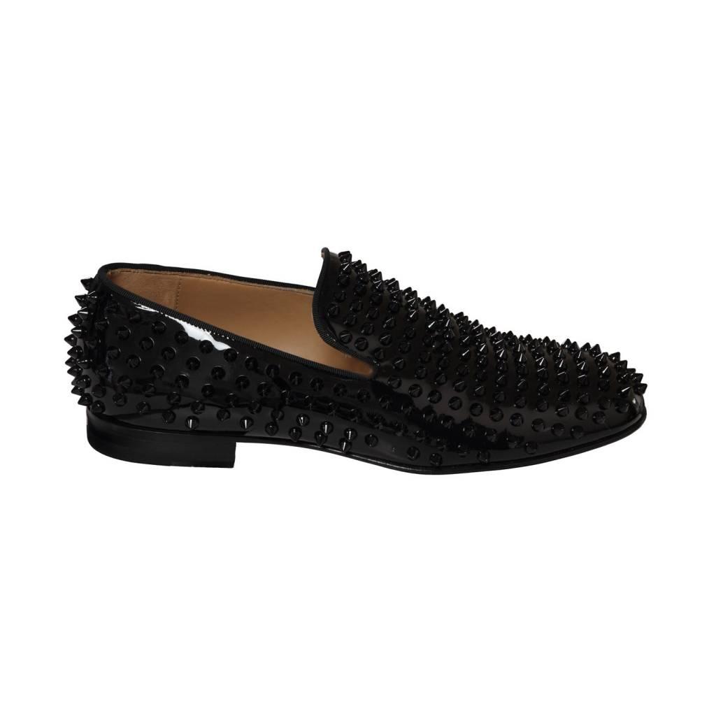 magasin en ligne 117b2 e1c23 Christian Louboutin flâneurs noirs en cuir patent et clous noirs