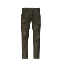 Balmain N/A - Balmain Khaki Destroyed Biker Jeans