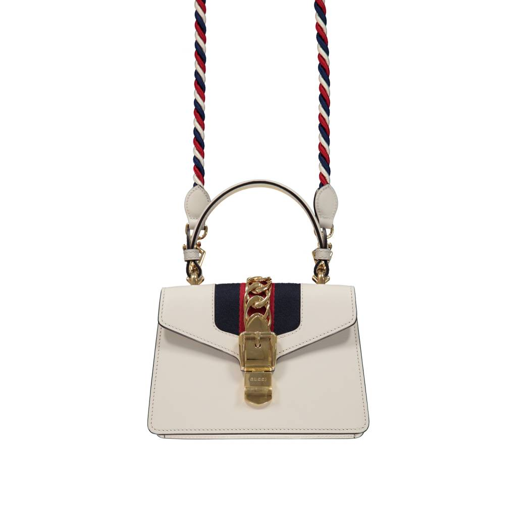 41709d91ce363a Gucci White Sylvie Leather Mini Handbag - Boutique LUC.S