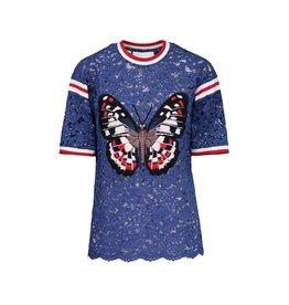 Gucci Gucci t-shirt en dentelle et appliqué papillon