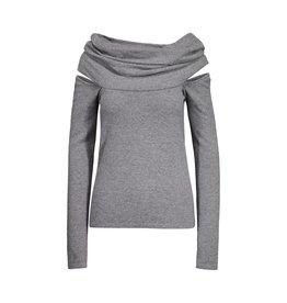 Balenciaga Balenciaga Grey Off-The-Shoulder Sweater