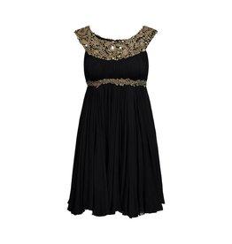 Marchesa NON DISPONIBLE - Marchesa robe en soie noire et ornements dorés