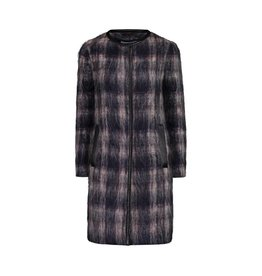 Prada Prada Mohair Plaid with Leather Trim Coat
