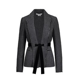 Givenchy N/A - Givenchy Charcoal Tweed Blazer with Velvet Attach