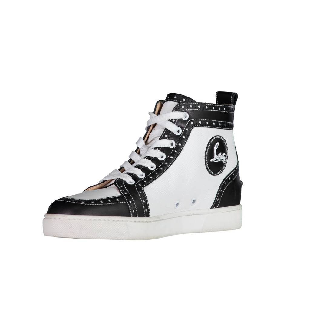 finest selection 588d1 1f1a0 Christian Louboutin Louis Flat White and Black Leather High Top