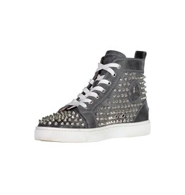 Christian Louboutin N/A - Christian Louboutin Louis Spikes Flat Grey Leather  High Top
