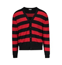 Saint Laurent Paris NON DISPONIBLE - Saint-Laurent Paris cardigan rayé noir et rouge