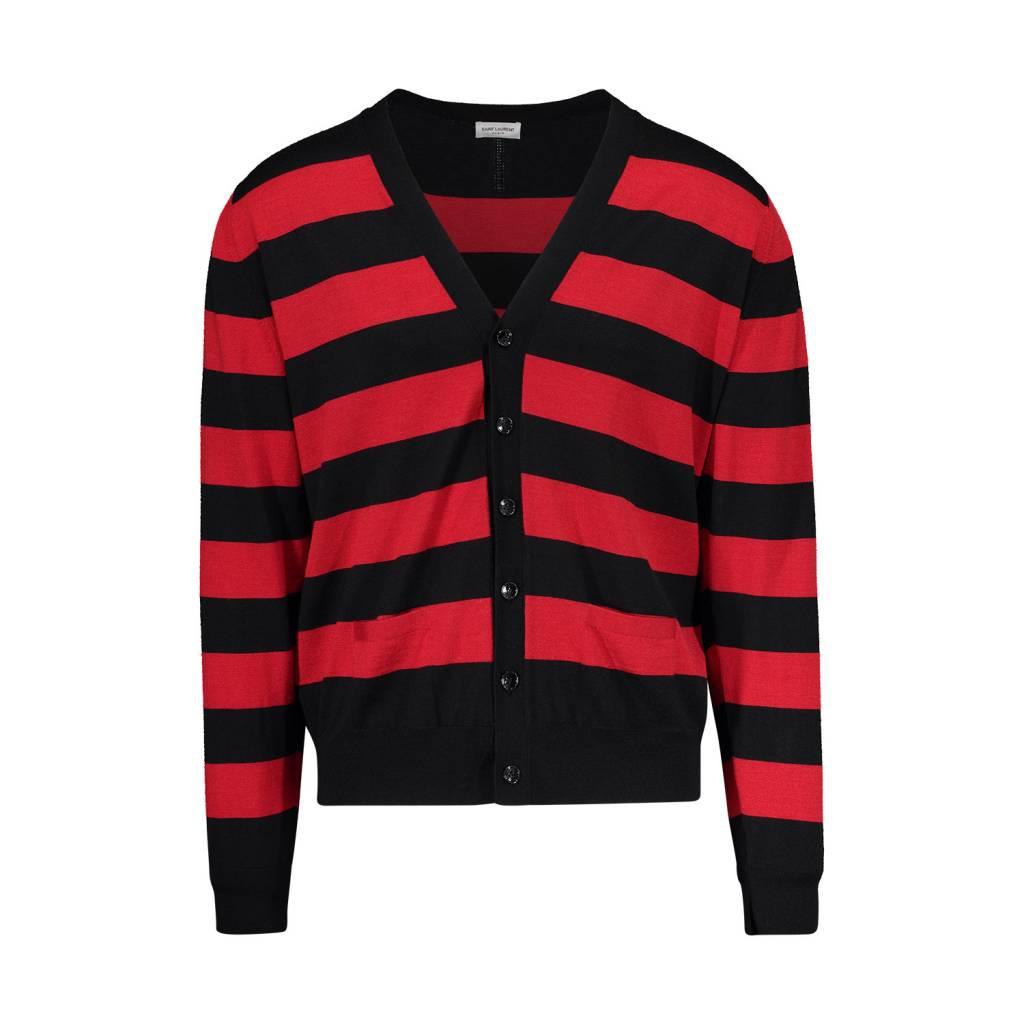 a6421cd39b95 Saint Laurent Paris Saint-Laurent Paris Black and Red Striped Cardigan ...