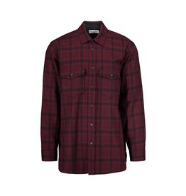 Saint Laurent Paris Saint Laurent Burgundy Wool Checked Shirt