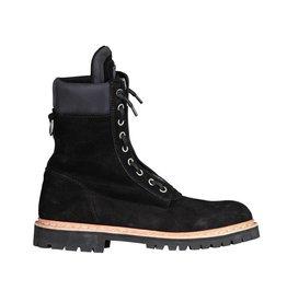 Balmain Balmain Taiga Black Suede Combat  Boots