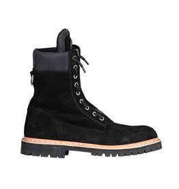 Balmain N/A - Balmain Taiga Black Suede Combat  Boots