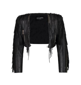 Balmain N/A - Balmain Cropped Leather Jacket
