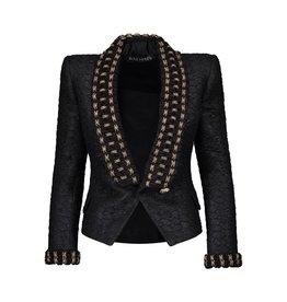 Balmain Balmain Tuxedo Tweed Blazer with Gold Swarovski Embellishments