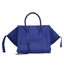 Céline NON DISPONIBLE - Céline sac moyen Phantom en cuir Bluette