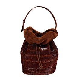 Gucci Gucci sac à l'épaule vintage en alligator brun noisette
