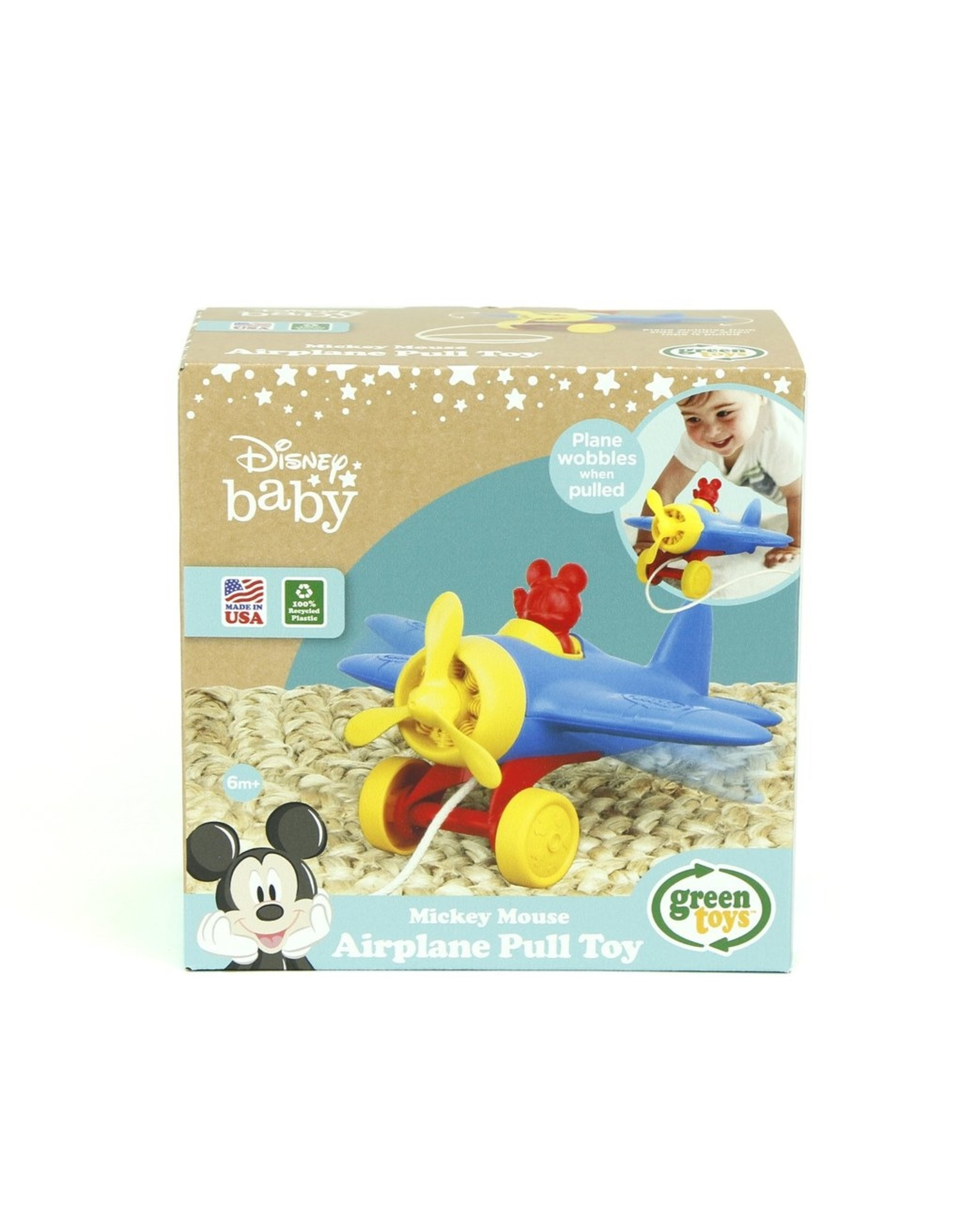 Green Toys GT Mickey Mouse Airplane Pull Toy